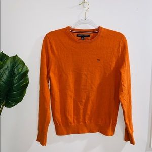 Tommy Hilfiger Orange Crewneck Sweater Small Fit